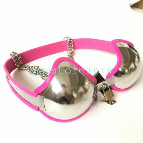 New Design Women Adjustable Stainless Steel Chastity Bra Device Padlock NEW