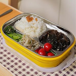 portable stainless steel thermal insulated lunch box bento food container picnic ebay. Black Bedroom Furniture Sets. Home Design Ideas