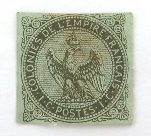 FRANCE-1859-1865-FRENCH-COLONIES-1c-IMPERF-MH-STAMP