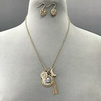 Bohemian Antique Gold Sun Moon Stars Tassel Charm Necklace With Earrings