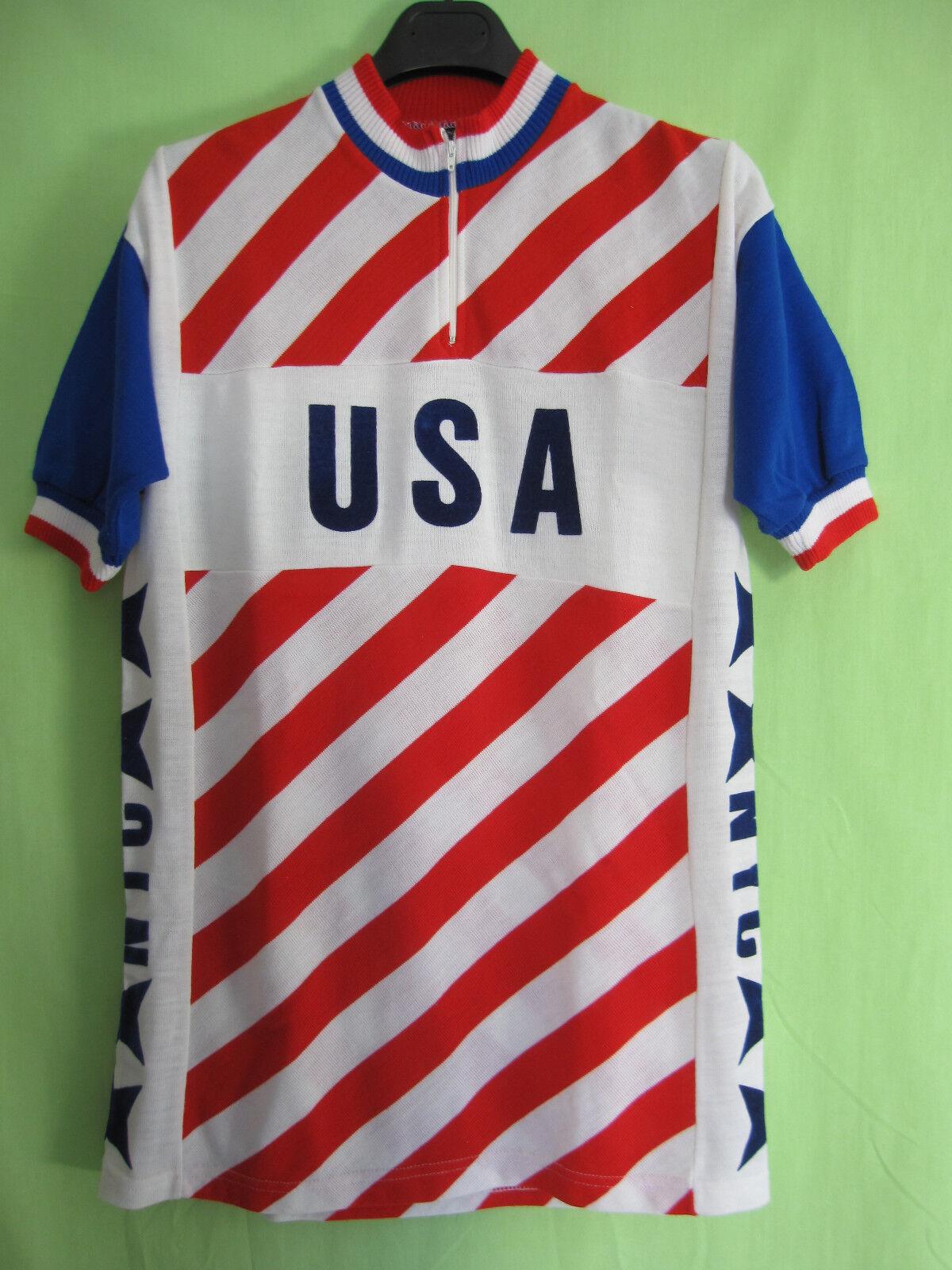 Maillot Cycliste Team USA cycling NYC Made 7 Belgium vintage Acrylique - 7 Made / XXL 9325f5