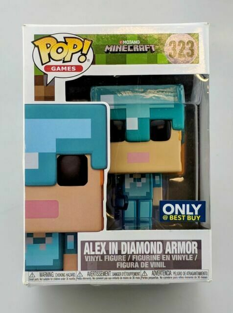 Funko Pop Games Minecraft 323 Alex In Diamond Armor Vinyl Action Figure New