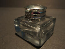 Vintage Antique Style Solid Clear Square Thick Glass Inkwell Ink pot Bottle