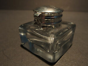 Vintage-Antique-Style-Solid-Clear-Square-Thick-Glass-Inkwell-Ink-pot-Bottle