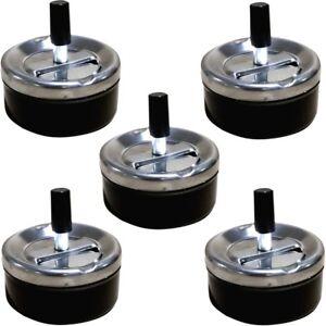 5x-Aschenbecher-mit-Drehfunktion-034-Roll-On-034-schwarz-Dreh-Aschenbecher-Ascher-9cm