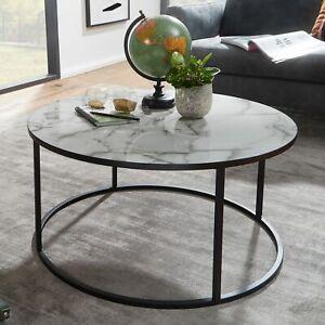 FineBuy Table Basse de Salon Effet Marbré 80x40x80 cm Table Canapé Moderne Ronde