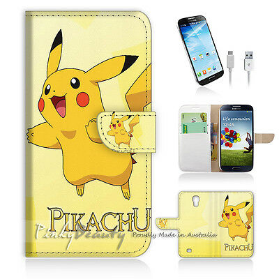 ( For Samsung S4 ) Wallet Case Cover! Pokemon Pikachu P0056