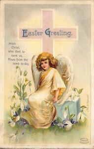 Clapsaddle-Easter-Postcard-Angel-with-a-Cross-and-White-Lily-Flowers-116398