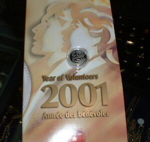 CANADIAN-2001-Ten-Cents-Proof-925-SILVER-Year-of-Volunteers