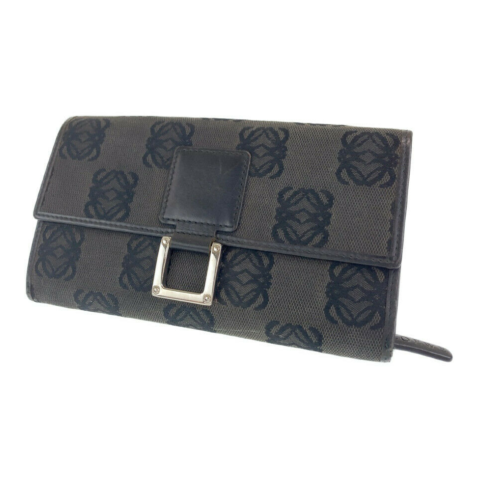 LOEWE anagram purse Bill Compartment Gray black canvas/leather