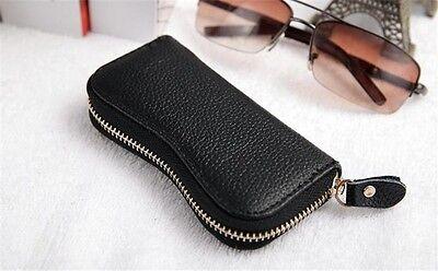 Black Streamline Zipper Men Genuine Leather Key Bag holder Car Keyring chain