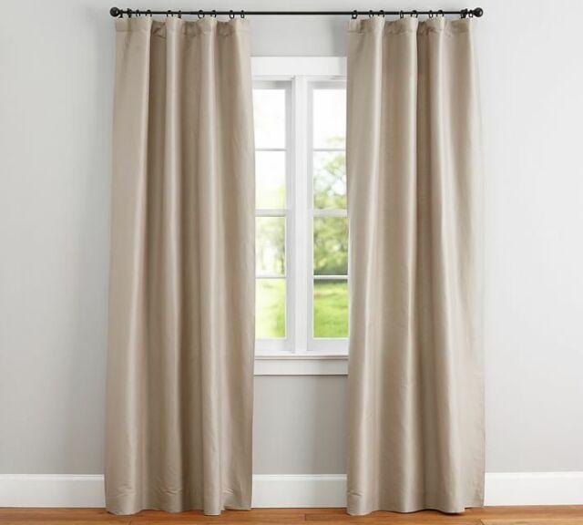 Pottery Barn Silk Rod Pocket Curtain Panel 50 X 84 Sahara
