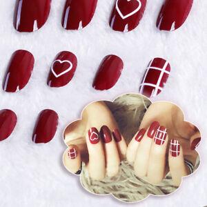 24X-acrylic-designer-fake-nail-tip-french-full-false-nails-art-fingernail-diy-BP