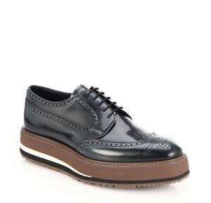 NIB-Prada-Black-Spazzolato-Leather-Brogue-Striped-Platform-Creepers-Size-6EU-7US