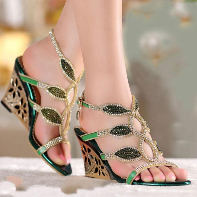 Chic Womens Wedge Ankle Strap Rhinestone Sandals High Wedge Heel Buckle Shoes Sz