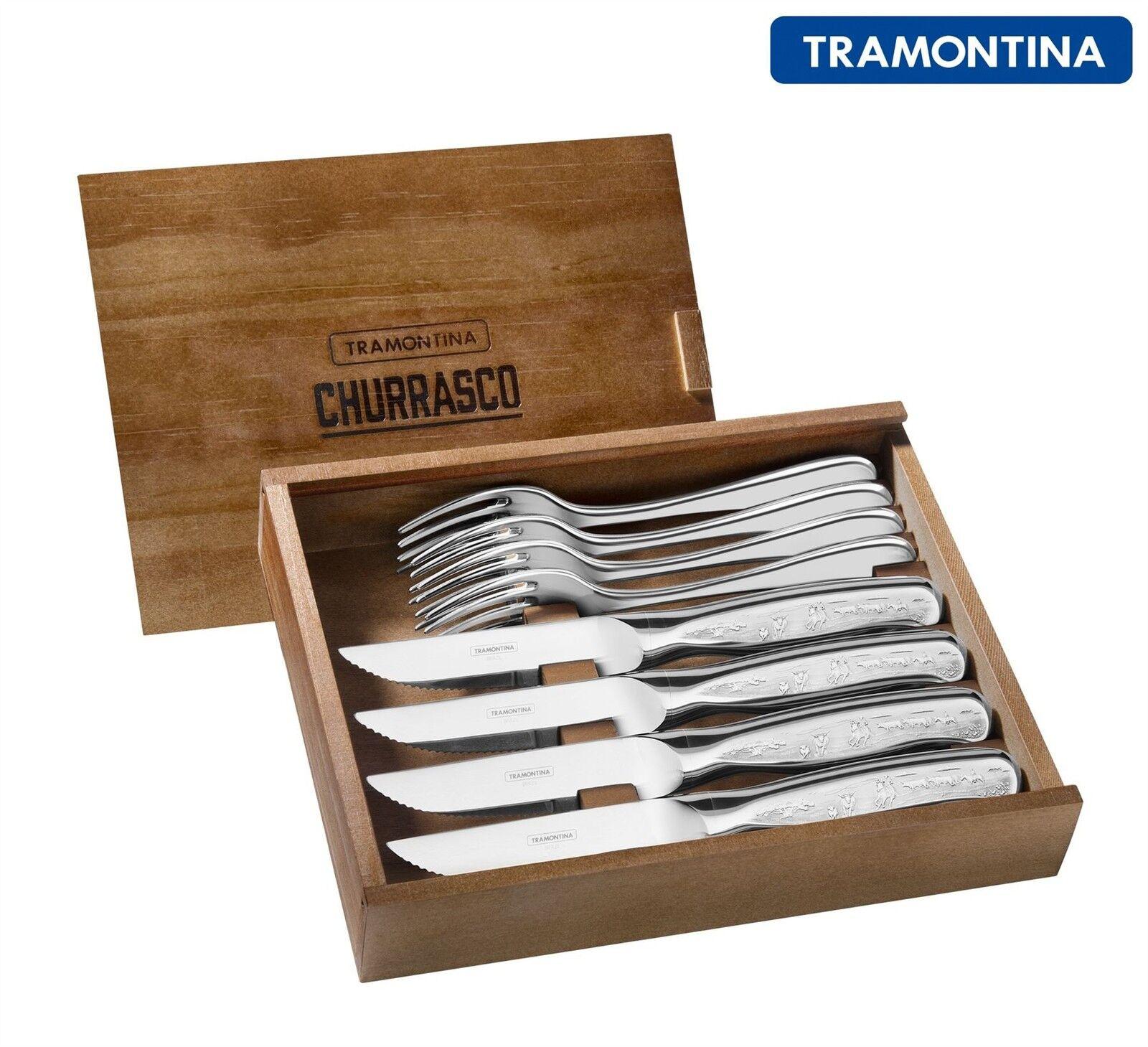 Tramontina 8 pièces en acier inoxydable Cowboy Jumbo Steak Couteau Couteaux Ensemble couverts