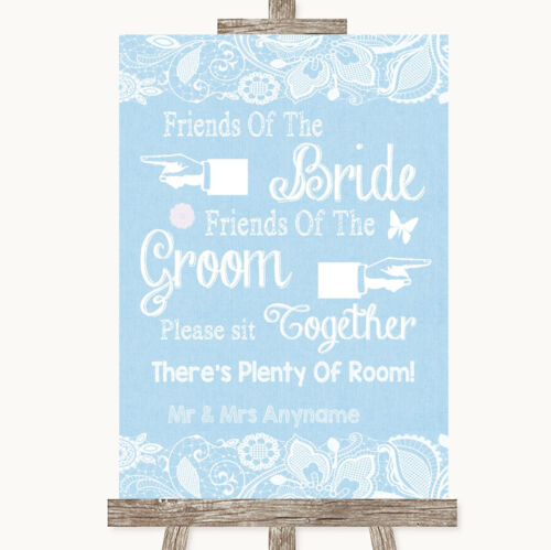 Blue Burlap /& Lace Friends Of The Bride Groom Seating Personalised Wedding Sign