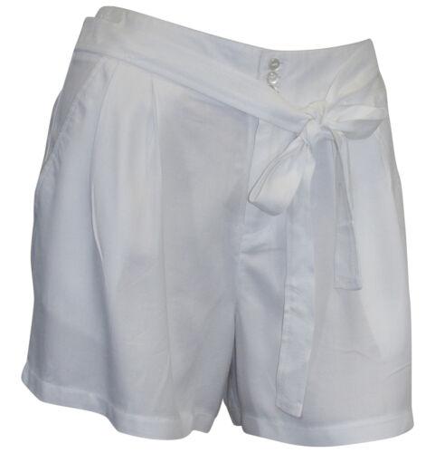 Shorts Gr 36 38 40 42 weiß kurze Hose Bindegürtel Sommershorts Urlaub
