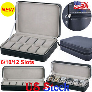 Jewelry-Portable-Travel-Zipper-Collector-Storage-Box-6-10-12-Slots-Watch-Case