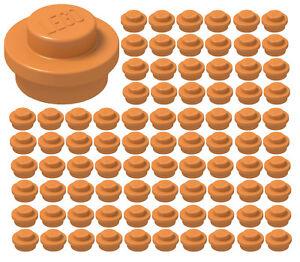 LEGO NEW Bulk Lot 100 Orange 1x1 Round Dot Flat Plate
