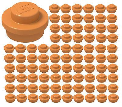 ☀️Lego 1x1 ORANGE Round Plates x100 Dots Stud Part Piece Bulk lot Legos #4073