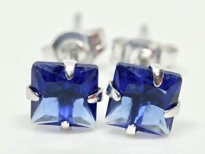 REAL-9K-SOLID-WHITE-GOLD-PRINCESS-CUT-SAPPHIRE-EARRINGS