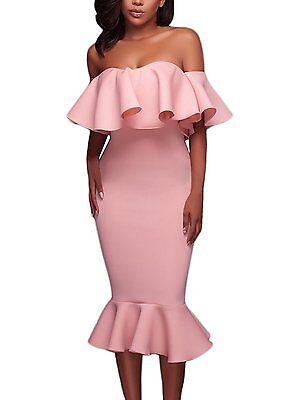 Astylish Womens Ruffle Off Shoulder Flouncing Mermaid Bodycon Midi Dress