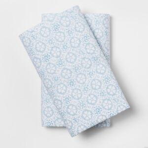 Simply-shabby-chic-de-impresion-Azul-250-hilos-de-algodon-Funda-de-almohada-Set-King