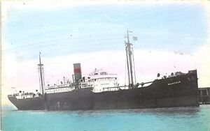 Waukegan Cargo Steam Ship Tinted Real Photo 2 RPPC Postcard
