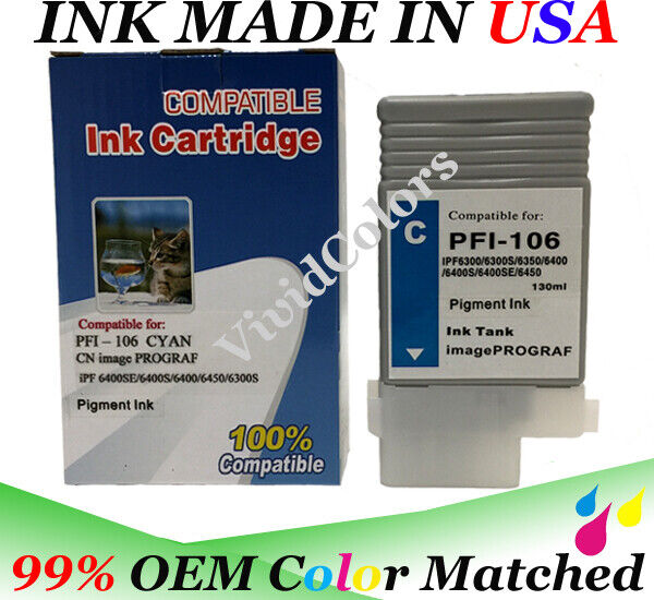 VividColors Compatible PFI106 ink Cartridge for Canon iPFs printers models