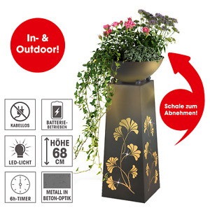 Dekosäule Pflanzschale LED Beleuchtung Metall Garten Gingko Deko 68 cm
