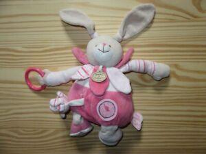 Peluche-Doudou-034-doudou-amp-cie-paris-034-LAPIN-rose-comme-neuf-TBE-25cm