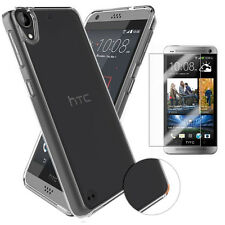 For HTC Mobile Phone Clear Crystal Soft TPU Gel Back Case Tempered Glass Film