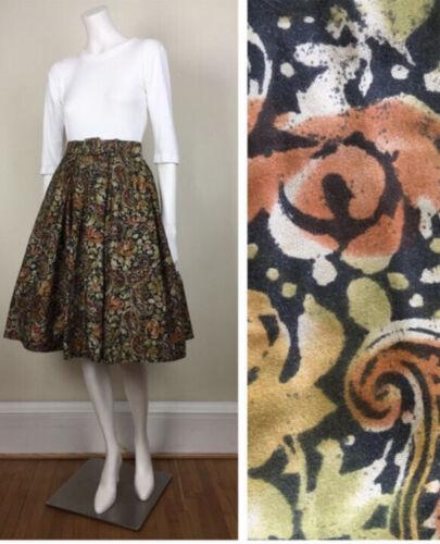 vintage dark paisley batik print full cotton skirt