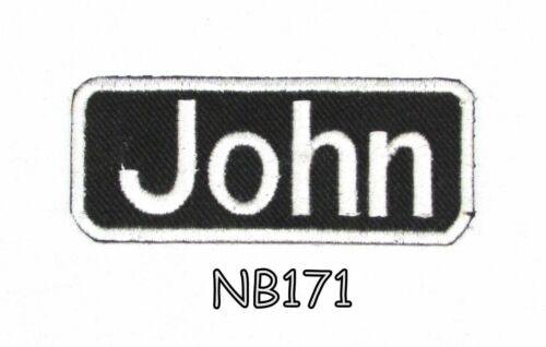John White on Black Iron on Name Tag Patch for Motorcycle Biker Vest NB171