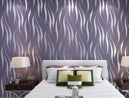 53*10cm 3D Papier peint non tissé rouleau rayures mur papier peint salon moderne