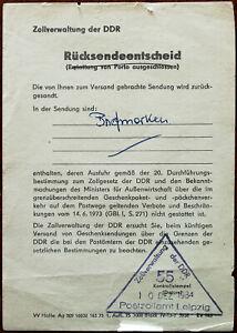 East Germany The German Democratic Republic GDR Parcel Return note 1984