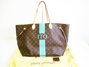 Auth-LOUIS-VUITTON-Mon-Monogram-Brown-Leather-Tote-Bag-Neverfull-GM-7269