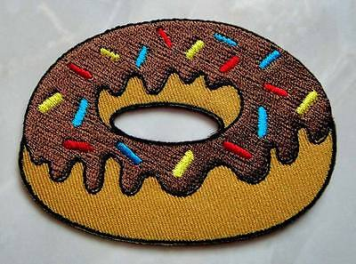 Cute Pretty Chocolate Doughnut Donut Embroidered Iron on Patch Free Shipping