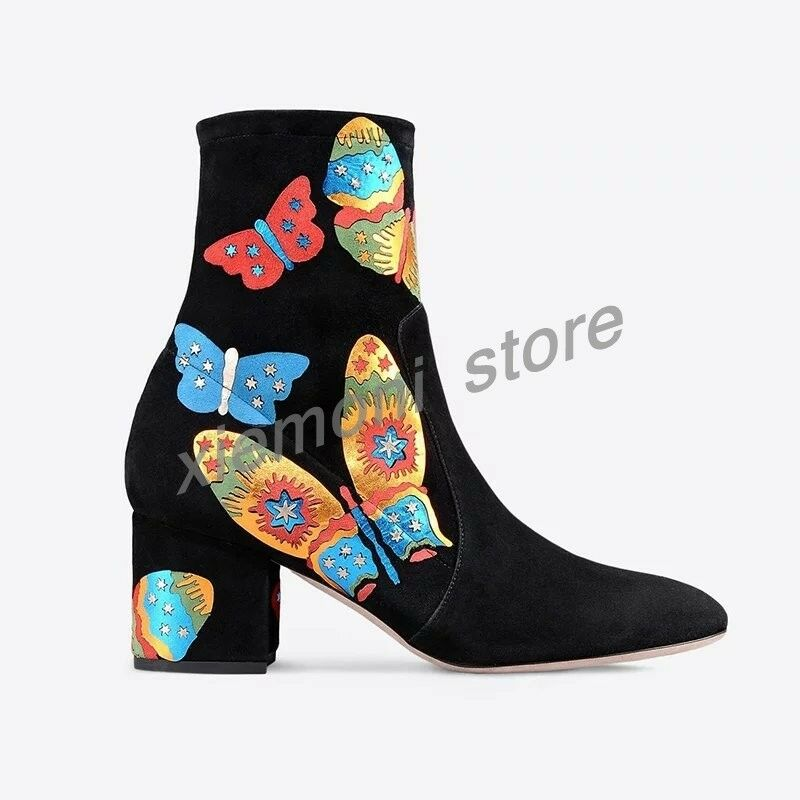 donna Suede Chunky Heel Multi Coloree Butterfly Ankle avvio Side Zip scarpe Dimensione