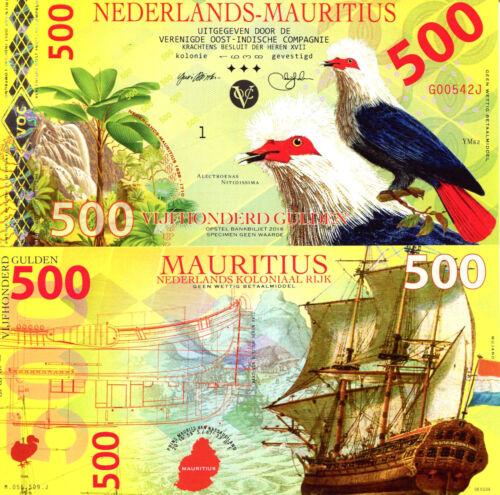NEDERLANDS MAURITIUS 500 Gulden Fun-Fantasy Note 2016 Issue Blue Pigeon Ship