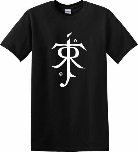 Lord of the Rings T-Shirt JRR Tolkien Symbol Top Gandalf Hobbit Fantasy Gift