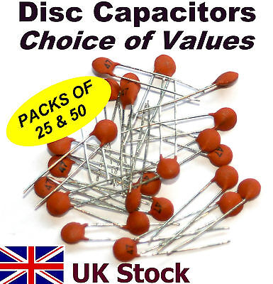 Ceramic Disc Capacitors,   Choice of Values,  Packs of 25 and 50  - UK Stock
