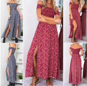 Women-039-s-Summer-Casual-Off-Shoulder-Floral-Long-Slits-Maxi-Dress-Beach-Sundress