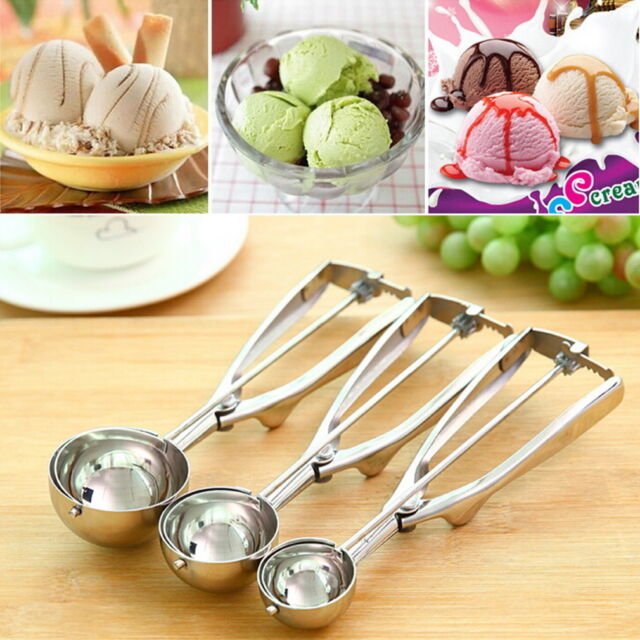 4/5cm Ice Cream Spoon Stainless Steel Spring Handle Masher Cookie Scoop Kitchen