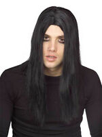 Mens Long Straight Black Wig Goth Hair Dark Gothic Adult Reaper Evil Punk Emo
