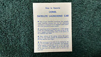 Lionel 3519 Satellite Launching Car Instructions Photocopy