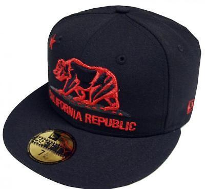 New Era California Republic Cap Black Red 59 Fifty 5950 Fitted Limited Edition-mostra Il Titolo Originale Eccellente (In) Qualità