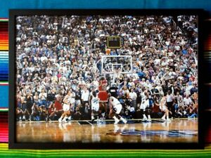 Framed-MICHAEL-JORDAN-Chicago-Bulls-039-Last-Shot-039-NBA-Poster-45-x-32-x-3cm