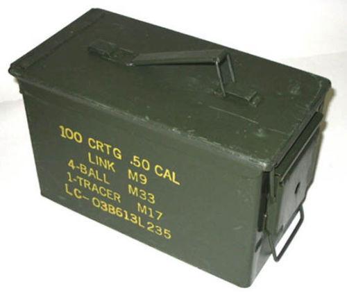 Ammo Tin, 50 Cal Ammunition Tin, Box, Army, Military